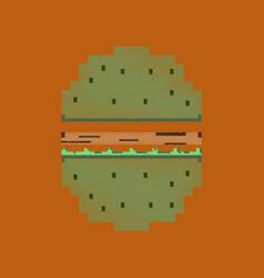 flat shading style icon pixel hamburger vector image vector image