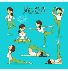 hand-drawn yoga poses vector image vector image
