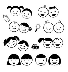kids icons set vector image vector image