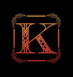 letter k with ornament vector image