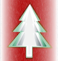 Red background green Christmas tree vector image vector image