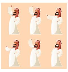 set of muslim cartoon characters vector image