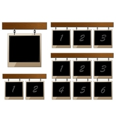 Set of wooden boards with empty frames vector image vector image
