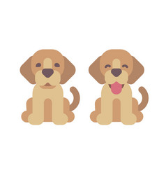two happy puppies flat cute pets icons vector image
