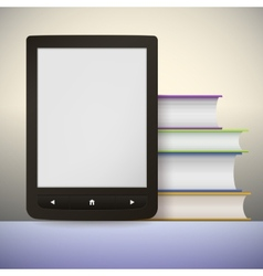 Electronic book reader with a stack of books you vector