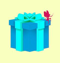 gift with a beautiful decorative gift box blue vector image