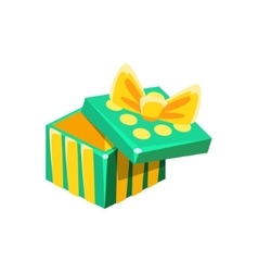 Green And Yellow Empty Gift Box Without Present vector image