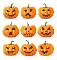 halloween background pumpkin set vector image vector image