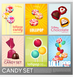 realistic colorful candy shop brochures set vector image