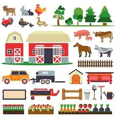 Set of elements for farm Farm building animals vector image