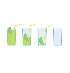 Set of green lemon coctail drink with straw stage vector image vector image