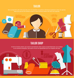 tailor shop banners set vector image vector image