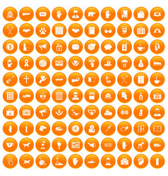 100 donation icons set orange vector image