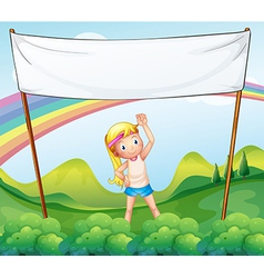 A girl exercising in front of the empty banner vector image vector image