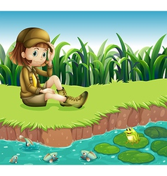 A girl wearing hat sitting at the riverbank vector