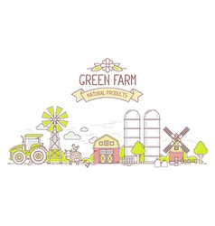 Agribusiness of colorful modern farm life wi vector