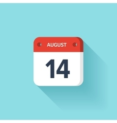 August 14 Isometric Calendar Icon With Shadow vector