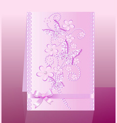 background card with flowers and bow delicate vector image