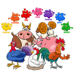Basic colors for kids with farm animal characters vector