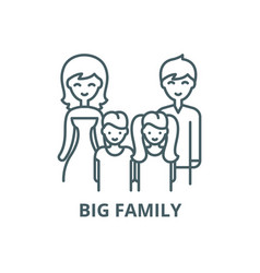 Big family line icon big family outline vector