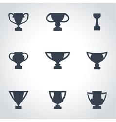 Black trophy icon set vector