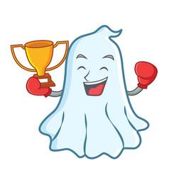 Boxing winner cute ghost character cartoon vector