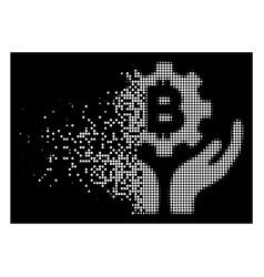 Bright disintegrating dot halftone bitcoin gear vector