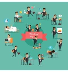 Businessman Working Day Set vector image