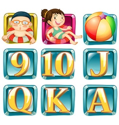 Buttons with kids and letters vector image