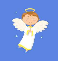 Calm boy angel praying peaceful angelic child vector