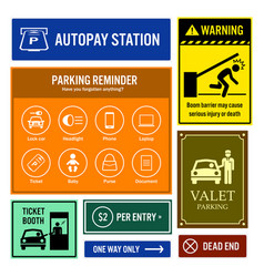 Car park reminder and information signs vector