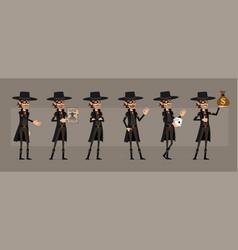 cartoon bandit in mask character big set vector image