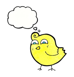Cartoon funny bird with thought bubble vector