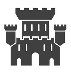 castle black icon medieval building landscape vector image