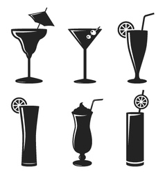 cocktail drinks black web icon set vector image