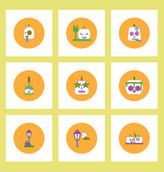 collection of icons in flat style halloween party vector image