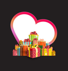 colorful gift boxes pile with big paper heart on vector image