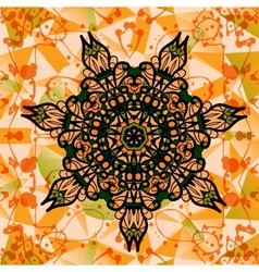 Colorful mandala over multicolored background of vector