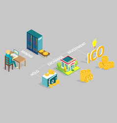 cryptocurrency life isometric vector image