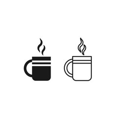 Cup tea icon linear outline flat design vector