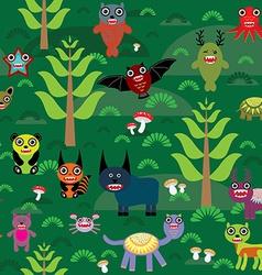 Cute cartoon monsters seamless pattern on green e vector