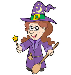 cute wizard girl vector image
