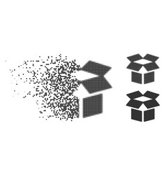 Damaged dotted halftone open box icon vector