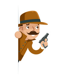 Dangerous investigation detective gun look out vector