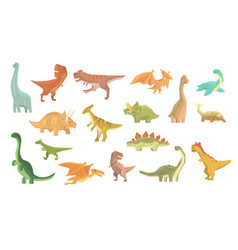 Dinosaurs of jurassic period set of prehistoric vector