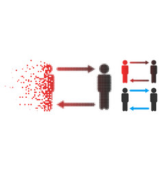 disintegrating dotted halftone persons exchange vector image