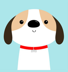 Dog face head red collar white puppy pooch cute vector