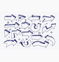 Doodle blue pen sketch arrows on lined paper vector