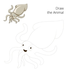 Draw the squid educational game vector image