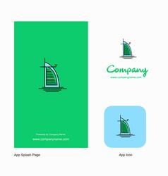 Dubai hotel company logo app icon and splash page vector
